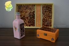 conjunto de bandeja-botella-caja
